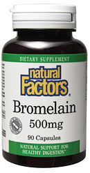 Natural Factors Bromelain 500 mg provides natural support for healthy digestion..