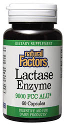 Natural Factors Lactase Enzyme provides digestive aid for dairy products..
