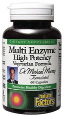 Multi Enzyme capsules are the optimal digestive aid containing a full spectrum of plant-derived enzymes in a single supplement.  To help improve the body's absorption of nutrients, these valuable enzymes break down carbohydrates, proteins, and fats..