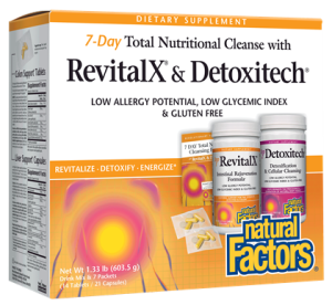 We are exposed to toxins everyday by the air we breath, water we drink and the food we consume. If you are feeling the effects of toxic build-up such as fatigue, constipation and overall feeling lousy it may be time for a gentle detoxifying whole body cleanse.  RevitalX and Detoxitech | Low Allergy Potential | Low Glycemic Index & Gluten Free formula help to get you back up to speed feeling lighter with more energy..