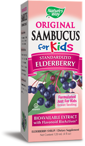 Nature's Way Sambucus For Kids naturally formulated to boost your child's defense system against cold & flu viruses..
