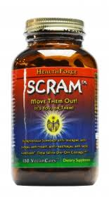 Scram   HealthForce Nutritionals is a special blend of herbs designed to kill off harmful parasites in your body.