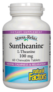 Suntheanine from Natural Factors is a Dr. Michael Murray approved, patented blend of L-Theanine to enhance mental calmness and relaxation.