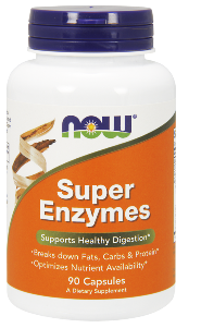 NOW® Super Enzyme tablets are a comprehensive blend of enzymes that support healthy digestive functions..
