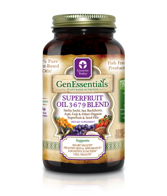 GenEssentials All Organic Superfruit Oil 3-6-7-9 Blend (90 softgels)*. 100% plant based oils..