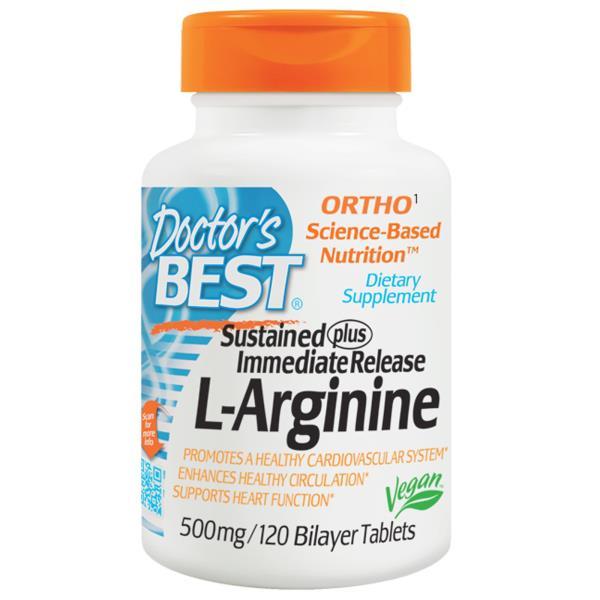 Sustained plus Immediate Release L-Arginine (250mg SR & 250mg IR - 120 tablets).
