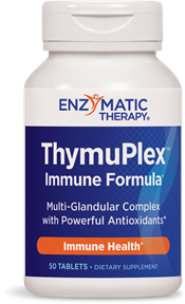 Ultra potent immune supporting antioxidants, Tymuplec contains proprietary thymus polypeptide fractions/glandular complex (thymus polypeptide fractions, spleen extract, thumus extract, lymphatic extract, bone marrow extract, bromelain, trypsin, papain, and pituitary extract), plus vitamins, minerals, and botanicals.