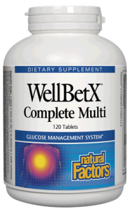 Natural Factors WellBetX Complete Multi is a balanced multivitamin supplement that helps maintain glucose levels..